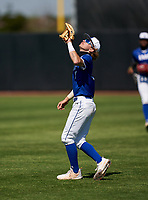 IMG Academy Ascenders second baseman Drake Varnado (9) catches a popup during a game against the Lakeland Dreadnaughts on February 20, 2021 at IMG Academy in Bradenton, Florida.  (Mike Janes/Four Seam Images)