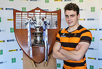 SCHOOLS CUP DRAW 2016 | Monday 16th November 2015<br /> <br /> RBAI captain Conor Field - Ulster Schools Cup draw at Kingspan Stadium, Ravenhill Park, Belfast, Northern Ireland.<br /> <br /> Photo credit: John Dickson / DICKSONDIGITAL