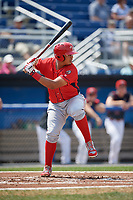 Williamsport Crosscutters right fielder Jhailyn Ortiz (18) at bat during the first game of a doubleheader against the Batavia Muckdogs on August 20, 2017 at Dwyer Stadium in Batavia, New York.  Batavia defeated Williamsport 6-5.  (Mike Janes/Four Seam Images)