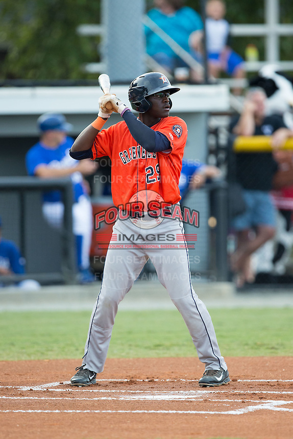 Daz Cameron (29) of the Greeneville Astros at bat against the Burlington Royals at Burlington Athletic Park on August 29, 2015 in Burlington, North Carolina.  The Royals defeated the Astros 3-1. (Brian Westerholt/Four Seam Images)