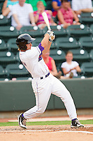 Ross Wilson #7 of the Winston-Salem Dash follows through on his swing against the Myrtle Beach Pelicans at BB&T Ballpark on July 5, 2012 in Winston-Salem, North Carolina.  The Dash defeated the Pelicans 12-5.  (Brian Westerholt/Four Seam Images)