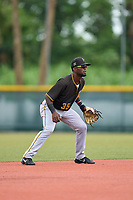 FCL Pirates Black shortstop Luis Tejeda (35) during a game against the FCL Pirates Gold on July 2, 2021 at Pirate City in Bradenton, Florida.  (Mike Janes/Four Seam Images)