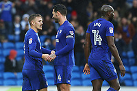 Danny Ward of Cardiff City celebrates scoring his sides second goal of the match with Sean Morrison during the Sky Bet Championship match between Cardiff City and Brentford at the Cardiff City Stadium, Wales, UK. Saturday 18 November 2017