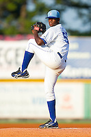 Starting pitcher Angel Baez #58 of the Burlington Royals in action against the Bristol White Sox at Burlington Athletic Park on July 9, 2011 in Burlington, North Carolina.  The Royals defeated the White Sox 3-2.   (Brian Westerholt / Four Seam Images)