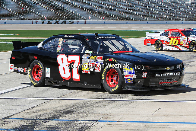 Nationwide Series driver Joe Nemechek (87) in action during the NASCAR Nationwide Series qualifying at Texas Motor Speedway in Fort Worth,Texas.