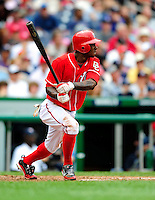 5 July 2009: Washington Nationals' center fielder Nyjer Morgan in action against the Atlanta Braves at Nationals Park in Washington, DC. The Nationals defeated the Braves 5-3 to take the rubber game of their 3-game weekend series. Mandatory Credit: Ed Wolfstein Photo