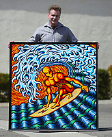 March. 21, 2021. Vista.,USA.| Artist Jamie Scott Lytle, Tubed Surfer, acrylic on board, 4' X 4'  | Jamie Scott Lytle. Copyright.