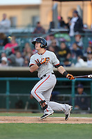 Christian Arroyo (2) of the San Jose Giants bats during a game against the Lancaster JetHawks at The Hanger on April 11, 2015 in Lancaster, California. San Jose defeated Lancaster, 8-3. (Larry Goren/Four Seam Images)