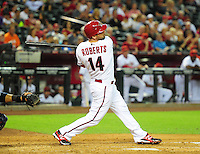 May 8, 2012; Phoenix, AZ, USA; Arizona Diamondbacks infielder Ryan Roberts at bat during game against the St. Louis Cardinals at Chase Field. Mandatory Credit: Mark J. Rebilas-.