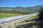 The peloton lined out during Stage 5 of the 2015 Presidential Tour of Turkey running 159.9km from Mugla to Pamukkale. 30th April 2015.<br /> Photo: Tour of Turkey/Mario Stiehl/www.newsfile.ie
