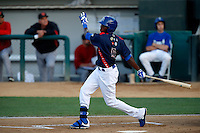Darnell Sweeney #9 of the Rancho Cucamonga Quakes bats against the Visalia Rawhide at LoanMart Field on May 25, 2013 in Rancho Cucamonga, California. Rancho Cucamonga defeated Visalia, 11-1. (Larry Goren/Four Seam Images)