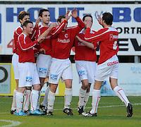 FC Gullegem - SV Wevelgem City..vreugde na de 3-0 van Nils Clarysse..foto VDB / BART VANDENBROUCKE