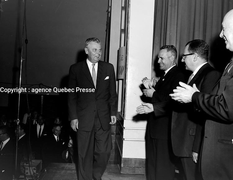 Le Premier ministre canadien John Diefenbaker<br /> , le 7 juin 1962<br /> <br /> Photographe : Photo Moderne<br /> - Agence Quebec Presse