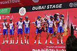 Groupama-FDJ at sign on before the start of Stage 6 of the 2021 UAE Tour running 165km from Deira Island to Palm Jumeirah, Dubai, UAE. 26th February 2021.  <br /> Picture: Eoin Clarke   Cyclefile<br /> <br /> All photos usage must carry mandatory copyright credit (© Cyclefile   Eoin Clarke)