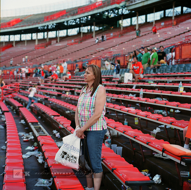 """A """"Farewell To The Orange Bowl"""" celebration was held on January 26, 2008. Approximately 15,000 people watched a team of ex-Miami Hurricanes beat a team of ex-Dolphins, 65-51 in a flag-football exhibition....Press Box section demolition..The game featured former Dolphin and Hall of Fame quarterback Dan Marino, plus Mark Duper, Mercury Morris, Dwight Stephenson, A.J. Duhe, Don Strock, Jim Kiick, John Offerdahl, Jim Kelly, Bernie Kosar, Melvin Bratton, Bernie Blades, Benny Blades and Eddie Brown. The NFL's winningest coach Don Shula coached the Dolphin players while Florida Atlantic University and former Hurricanes coach (and former Dolphins assistant) Howard Schnellenberger coached the UM players..The Orange Bowl was open to the public for the last time February 8-10, 2008 when a public auction of stadium artifacts and memorabilia was held. The stadium was stripped and pieces were sold by a company called Mounted Memories. Demolition of the Orange Bowl began on March 3rd, 2008. The Orange Bowl location will possibly be used by the Florida Marlins for the New Marlins Stadium, pending final approval. [7] Demolition of the stadium was completed on May 14, 2008."""