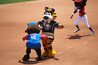 Buffalo Bisons mascot race featuring Sabertooth of the Buffalo Sabres being distracted by Chip as Buster T. Bison wins the race on his birthday during a game against the Scranton/Wilkes-Barre RailRiders on July 2, 2016 at Coca-Cola Field in Buffalo, New York.  Scranton defeated Buffalo 5-1.  (Mike Janes/Four Seam Images)