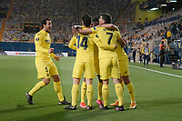 29th April 2021; Ceramica Stadium, Villareal, Spain; EUropa League semi-final football, Villareal CF versus Arsenal;  Manu Triguerof Villarreal CF celebrates his goal with his teammates