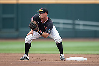 Texas Tech Red Raiders shortstop Josh Jung (16) waits for a throw at second during Game 1 of the NCAA College World Series against the Michigan Wolverines on June 15, 2019 at TD Ameritrade Park in Omaha, Nebraska. Michigan defeated Texas Tech 5-3. (Andrew Woolley/Four Seam Images)