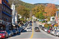 An autumn view up Main Street in Camden, Maine.