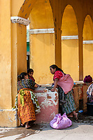 Antigua, Guatemala.  Women Doing Laundry at the Public Pila, or Washing Place.