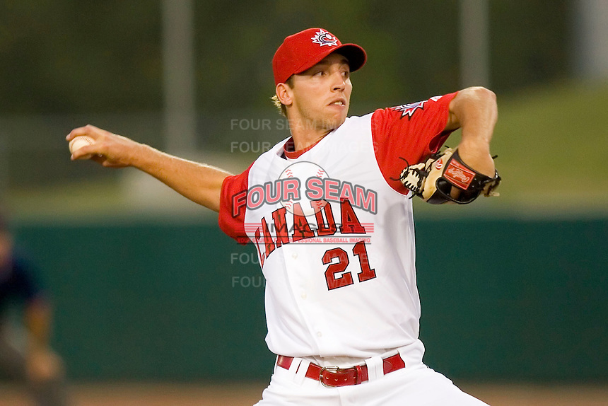 Relief pitcher Chris Kissock #21 of Team Canada in action versus Team USA at the USA Baseball National Training Center, September 4, 2009 in Cary, North Carolina.  (Photo by Brian Westerholt / Four Seam Images)