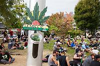 Crowd Smoking Marijuana, Hempfest 2016, Seattle, WA, USA.