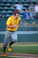 David Greer (28) of the Arizona State Sun Devils runs to first base during a game against the Long Beach State Dirtbags at Blair Field on February 27, 2016 in Long Beach, California. Long Beach State defeated Arizona State, 5-2. (Larry Goren/Four Seam Images)