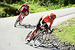 Fausto Masnada (ITA) CCC Team and Nicolas Edet (FRA) Cofidis part of the breakaway during Stage 4 of Criterium du Dauphine 2020, running 157km from Ugine to Megeve, France. 15th August 2020.<br /> Picture: ASO/Alex Broadway | Cyclefile<br /> All photos usage must carry mandatory copyright credit (© Cyclefile | ASO/Alex Broadway)
