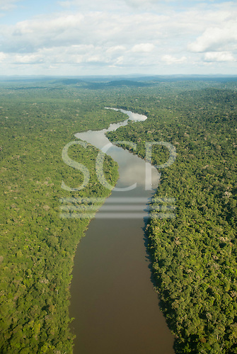 Novo Progresso, Para State, Brazil. Flight to Aldeia Bau, aerial view, unbroken rain forest with winding Curua River.