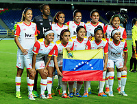 CALI - COLOMBIA - 19 - 05 - 2017: Las jugadoras de Independiente Santa Fe, posan para una foto, durante partido de ida entre America de Cali y el Independiente Santa Fe, por los cuartos de final de la Liga Femenina Aguila 2017, en el estadio Pascual Guerrero de la ciudad de Cali. / The players of Independiente Santa Fe, pose for a photo during a match for the first leg between America de Cali and Independiente Santa Fe, of the quarterfinals for the Liga Femenina Aguila 2017 at the Pascual Guerrero stadium in the city of Cali, Photo: VizzorImage / Nelson Rios / Cont.