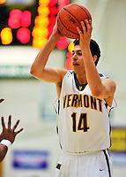 29 January 2012: University of Vermont Catamount guard Josh Elbaum, a Sophomore from Melville, NY, in action against the University of New Hampshire Wildcats at Patrick Gymnasium in Burlington, Vermont. The Catamounts defeated the Wildcats 77-60 in America East play. Mandatory Credit: Ed Wolfstein Photo