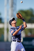 Lakeland Flying Tigers third baseman Colby Bortles (19) catches a popup during a Florida State League game against the Dunedin Blue Jays on May 18, 2019 at Publix Field at Joker Marchant Stadium in Lakeland, Florida.  Dunedin defeated Lakeland 3-2 in eleven innings.  (Mike Janes/Four Seam Images)