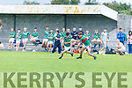 St Brendans Ronan Walsh been tackled by Diarmuid McGillicuddy of Mid Kerry in the Minor Football Championship quarter final.