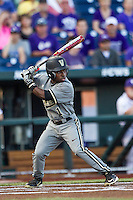 Vanderbilt Commodores designated hitter Ro Coleman (1) at bat during the NCAA College baseball World Series against the TCU Horned Frogs on June 16, 2015 at TD Ameritrade Park in Omaha, Nebraska. Vanderbilt defeated TCU 1-0. (Andrew Woolley/Four Seam Images)