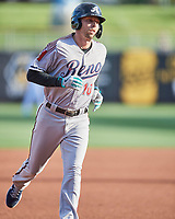 Drew Ellis (10) of the Reno Aces circles the bases against the Salt Lake Bees at Smith's Ballpark on May 6, 2021 in Salt Lake City, Utah. The Aces defeated the Bees 5-4. (Stephen Smith/Four Seam Images)