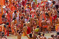 the sahu approch Har Ki Pauri.ghat  in Hariwar India to take the holy bath into Ganga river to take human out of the circle of life & death ( stage known as Moksha )