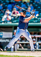 18 July 2018: New Hampshire Fisher Cats designated hitter Ryan Hissey at bat against the Trenton Thunder at Northeast Delta Dental Stadium in Manchester, NH. The Thunder defeated the Fisher Cats 3-2 concluding a previous game started April 29. Mandatory Credit: Ed Wolfstein Photo *** RAW (NEF) Image File Available ***