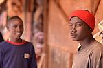 Teenage boys at the Saturday market in Kigali Rwanda