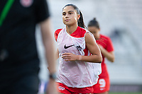 ORLANDO, FL - FEBRUARY 21: Jordyn Listro #21 of the CANWNT warming up before a game between Argentina and Canada at Exploria Stadium on February 21, 2021 in Orlando, Florida.