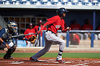 GCL Red Sox outfielder Yoan Aybar (3) at bat during the first game of a doubleheader against the GCL Rays on August 4, 2015 at Charlotte Sports Park in Port Charlotte, Florida.  GCL Red Sox defeated the GCL Rays 10-2.  (Mike Janes/Four Seam Images)