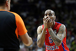 CSKA Moscow's Aaron Jackson have words with the referee during Euroleague Semifinal match. May 15,2015. (ALTERPHOTOS/Acero)