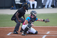 Pescados de Carolina catcher Wes Clarke (5) receives a pitch as home plate umpire Tre Jester looks on during the game against the Delmarva Shorebirds at Five County Stadium on September 4, 2021 in Zebulon, North Carolina. (Brian Westerholt/Four Seam Images)