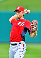 5 September 2011: Washington Nationals pitcher Stephen Strasburg warms up prior to a game against the Los Angeles Dodgers at Nationals Park in Los Angeles, District of Columbia. The Nationals defeated the Dodgers 7-2 in the first game of their 4-game series. Mandatory Credit: Ed Wolfstein Photo