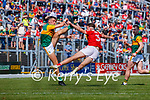 David Clifford, Kerry, in action against Sean Meehan, Cork, during the Munster GAA Football Senior Championship Final match between Kerry and Cork at Fitzgerald Stadium in Killarney on Sunday.