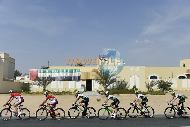 The peloton in action during Stage 5 The Meraas Stage final stage of the Dubai Tour 2018 the Dubai Tour's 5th edition, running 132km from Skydive Dubai to City Walk, Dubai, United Arab Emirates. 10th February 2018.<br /> Picture: LaPresse/Fabio Ferrari | Cyclefile<br /> <br /> <br /> All photos usage must carry mandatory copyright credit (© Cyclefile | LaPresse/Fabio Ferrari)