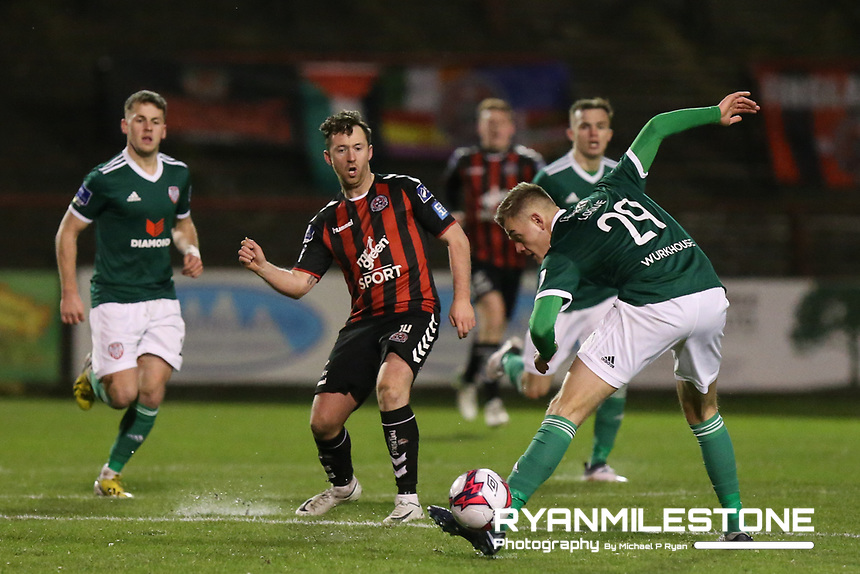 Paddy Kavanagh of Bohemians with Niall Logue of Derry<br /> during the SSE Airtricity League Premier Division game between Bohemians and Derry City on Tuesday 27th February 2018 at Dalymount Park, Dublin. Photo By: Michael P Ryan