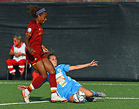 4th September 2021; Agostino di Bartolomei Stadium, Rome, Italy; Serie A womens championship football, AS Roma versus Napoli ; Allyson Swaby of Roma is slide tackled by Melanie Kuenrath of Napoli