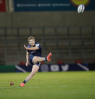 19th December 2020; AJ Bell Stadium, Salford, Lancashire, England; European Champions Cup Rugby, Sale Sharks versus Edinburgh;   Rob du Preez of Sale Sharks kicks a 70th minute penalty to give Sale a slender 15-13 lead