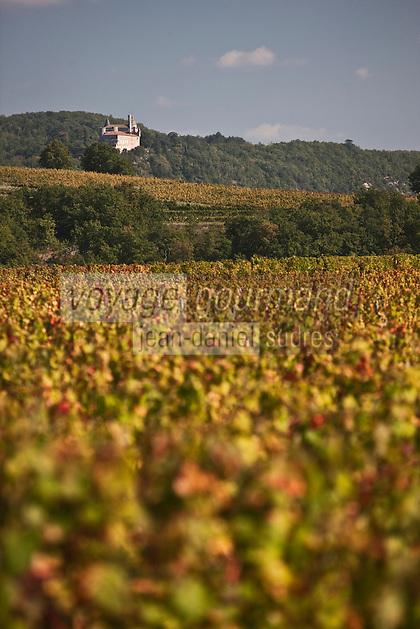 Europe/Europe/France/Midi-Pyrénées/46/Lot/Caillac: le vignoble AOC Cahors à l'automne te le Château de Mercués
