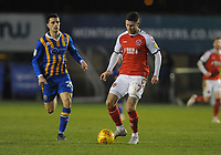 Fleetwood Town's Wes Burns under pressure from Shrewsbury Town's Oliver Norburn<br /> <br /> Photographer Kevin Barnes/CameraSport<br /> <br /> The EFL Sky Bet League One - Shrewsbury Town v Fleetwood Town - Tuesday 1st January 2019 - New Meadow - Shrewsbury<br /> <br /> World Copyright © 2019 CameraSport. All rights reserved. 43 Linden Ave. Countesthorpe. Leicester. England. LE8 5PG - Tel: +44 (0) 116 277 4147 - admin@camerasport.com - www.camerasport.com